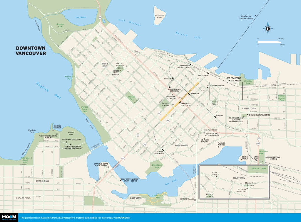 Color map of Downtown Vancouver, BC