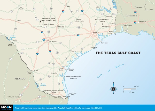 Map of Houston and the Gulf Coast