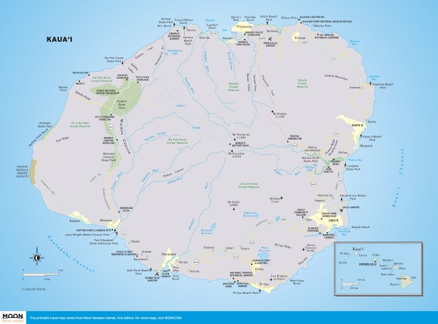 Travel map of Kaua'i, Hawaii.