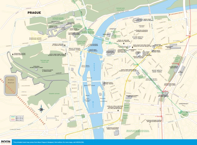 Travel map of Prague, Czech Republic