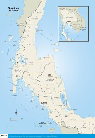 Travel map of the Phuket and Ko Samui region of Thailand