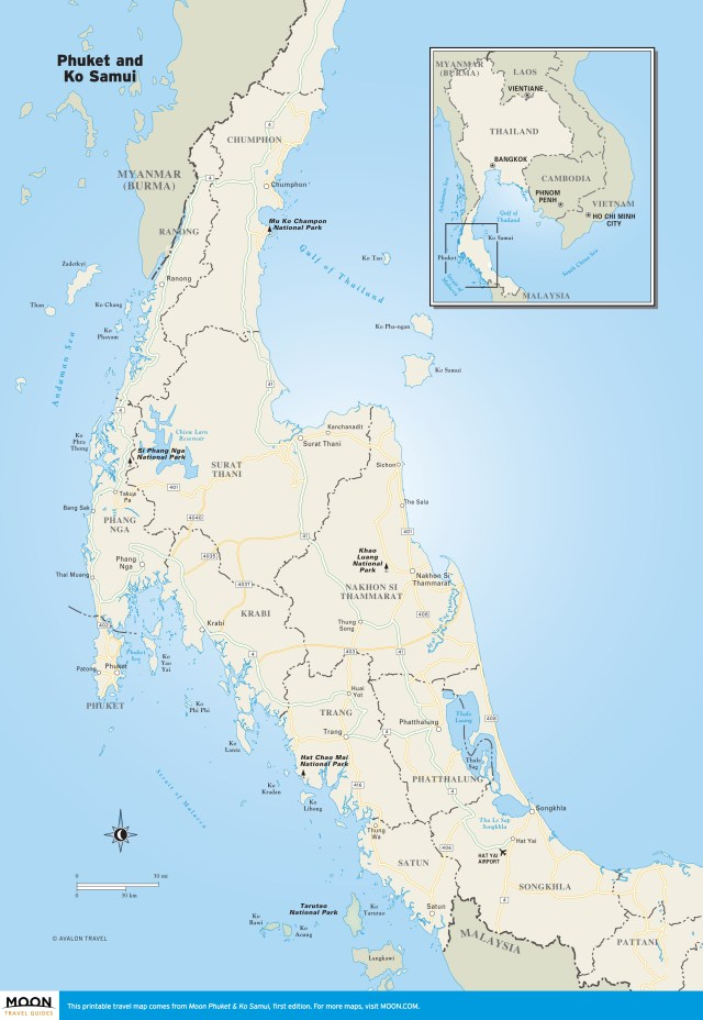 Travel map of the Phuket and Ko Samui region of Thailand