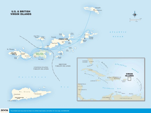 Travel map of Virgin Islands