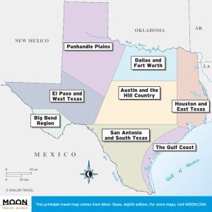 Overview of Texas travel maps by region