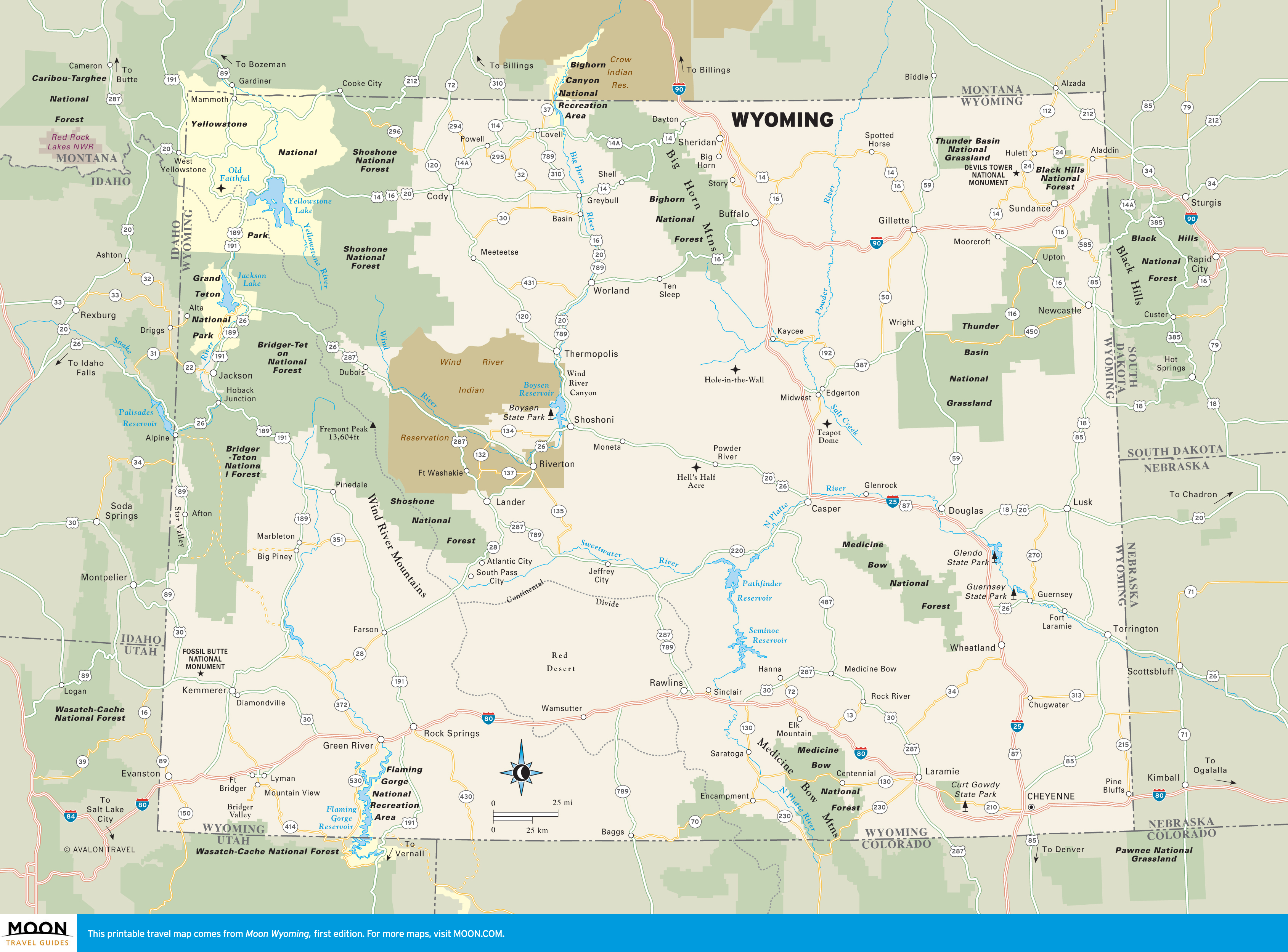 wyoming road and travel map Wyoming Moon Travel Guides wyoming road and travel map