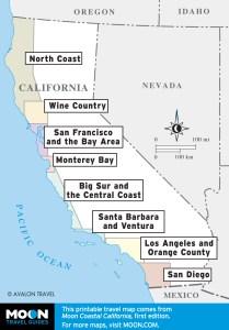 Regional overview of Coastal California travel maps