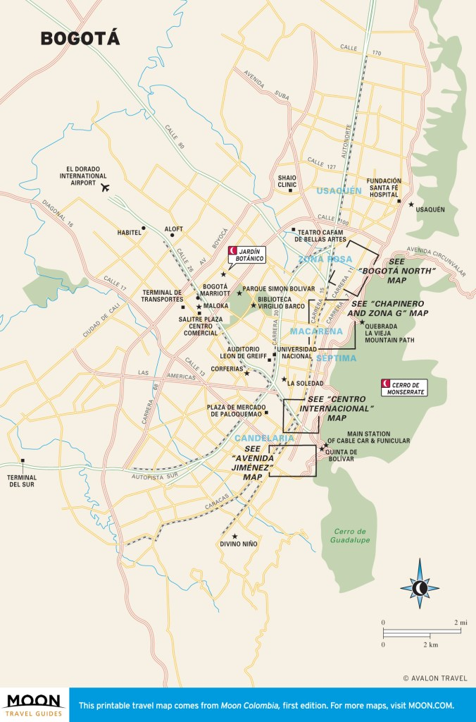 Travel map of Bogotá, Colombia.