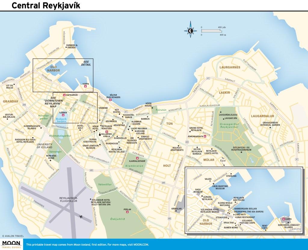 Travel map of Central Reykjavík