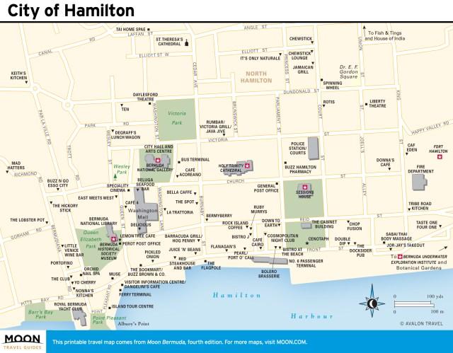 Travel map of City of Hamilton, Bermuda