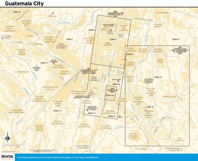 Travel map of Guatemala City