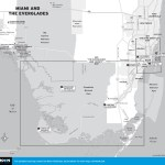 Map of the Miami and the Everglades, Florida