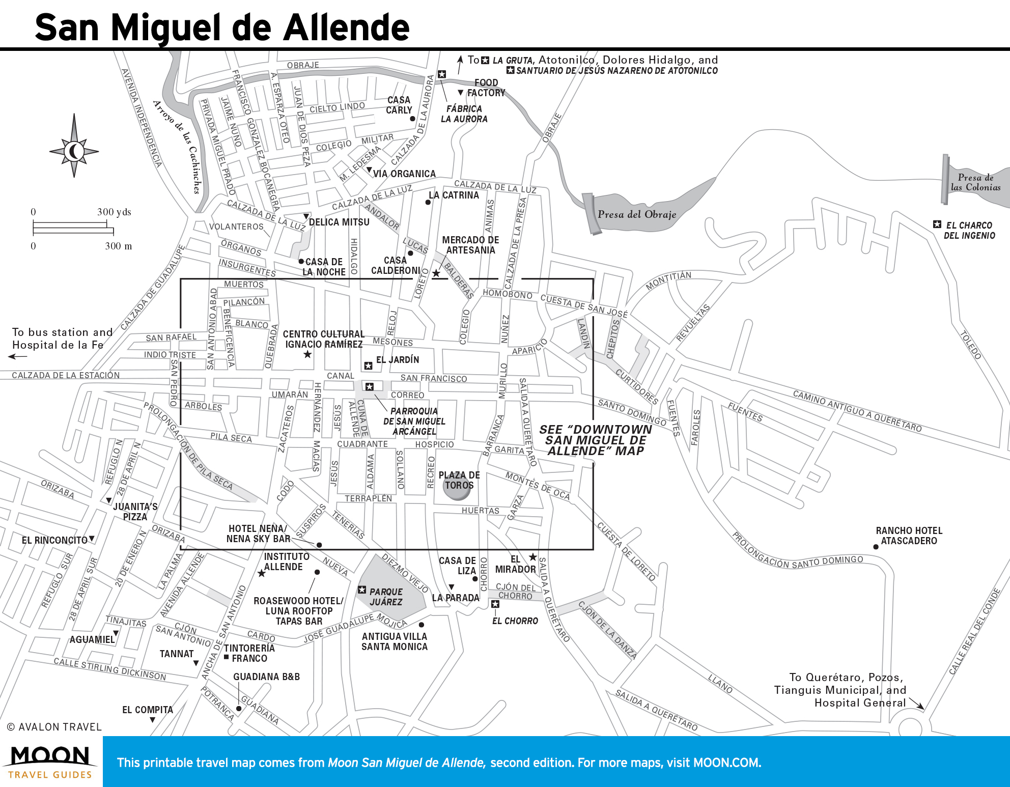 San Miguel de Allende | Avalon Travel on hermosillo map, san miguel county nm map, ixtapan de la sal map, mexico map, morelia map, isla mujeres map, antigua guatemala map, puebla on map, rio de janeiro map, latin america map, san cristobal de las casas map, ixtapa zihuatanejo map, segovia spain on a map, cozumel map, real de catorce map, buenos aires map, puerto vallarta map, rincon de guayabitos map, chichen itza map, queretaro map,
