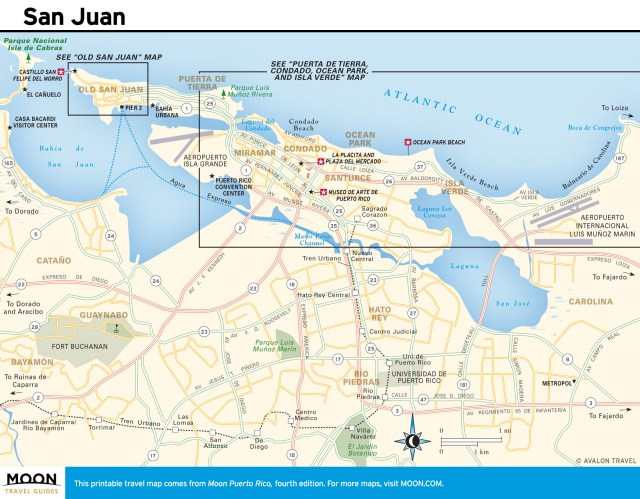 Travel map of San Juan, Puerto Rico