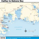 Travel map of Halifax to Mahone Bay, Nova Scotia