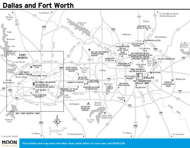 Travel map of Dallas and Fort Worth, Texas