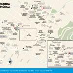 Travel map of Avenida Jiménez in Bogotá, Colombia
