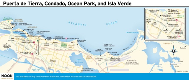 Travel map of Puerta de Tierra, Condado, Ocean Park, and Isla Verde, Puerto Rico