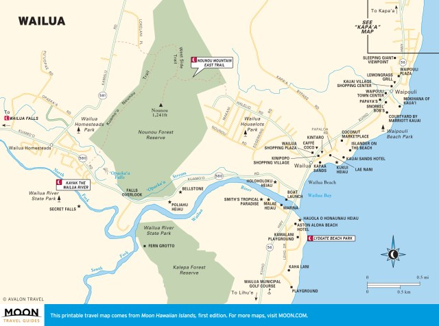 Travel map of Wailua, Kauai, Hawaii