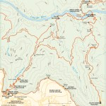 Travel map of Bright Angel and South Kaibab Trails in the Grand Canyon