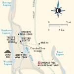 Map of Crooked Tree Wildlife Sanctuary, Belize