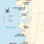 Travel map of Hanoi's West Lake Area in Vietnam