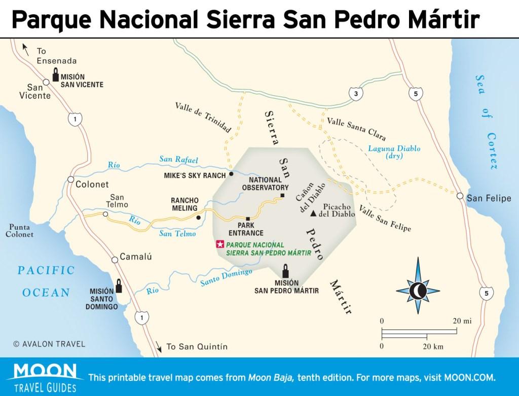 Travel map of Parque Nacional Sierra San Pedro Mártir