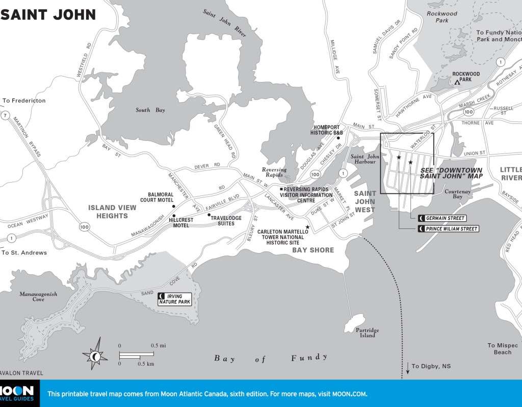 Travel map of Saint John, New Brunswick