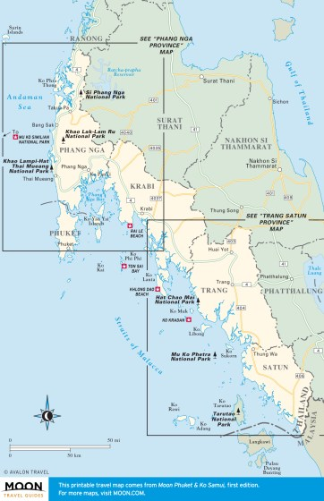 Travel map of The Andaman Coast, Thailand