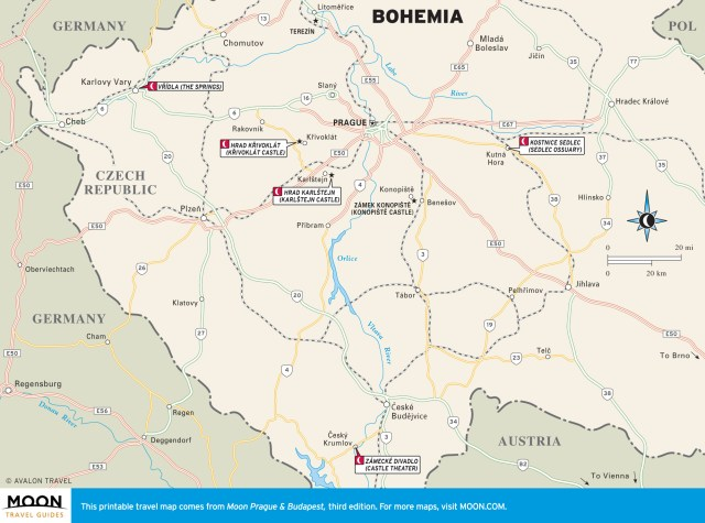 Travel map of Bohemia, Czech Republic