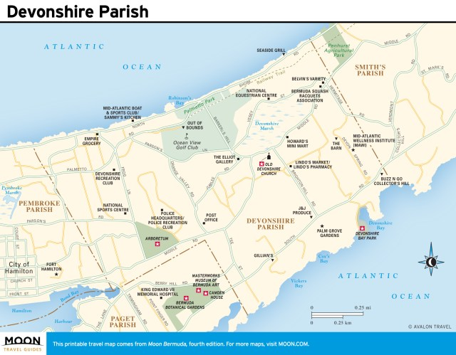 Travel map of Devonshire Parish, Bermuda