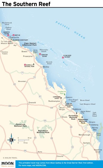 Travel map of The Southern Reef, Australia