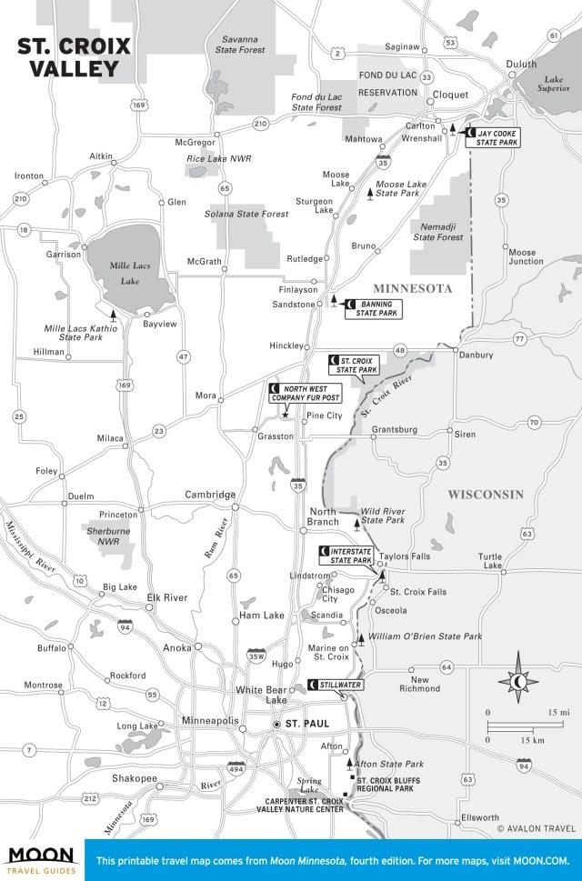 Travel map of St. Croix Valley, Minnesota