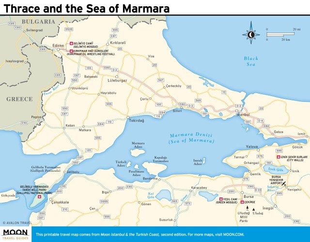 Travel map of Thrace and the Sea of Marmara.