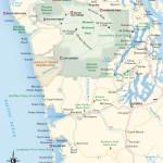 Travel map of the Olympic Peninsula and the Coast of Washington