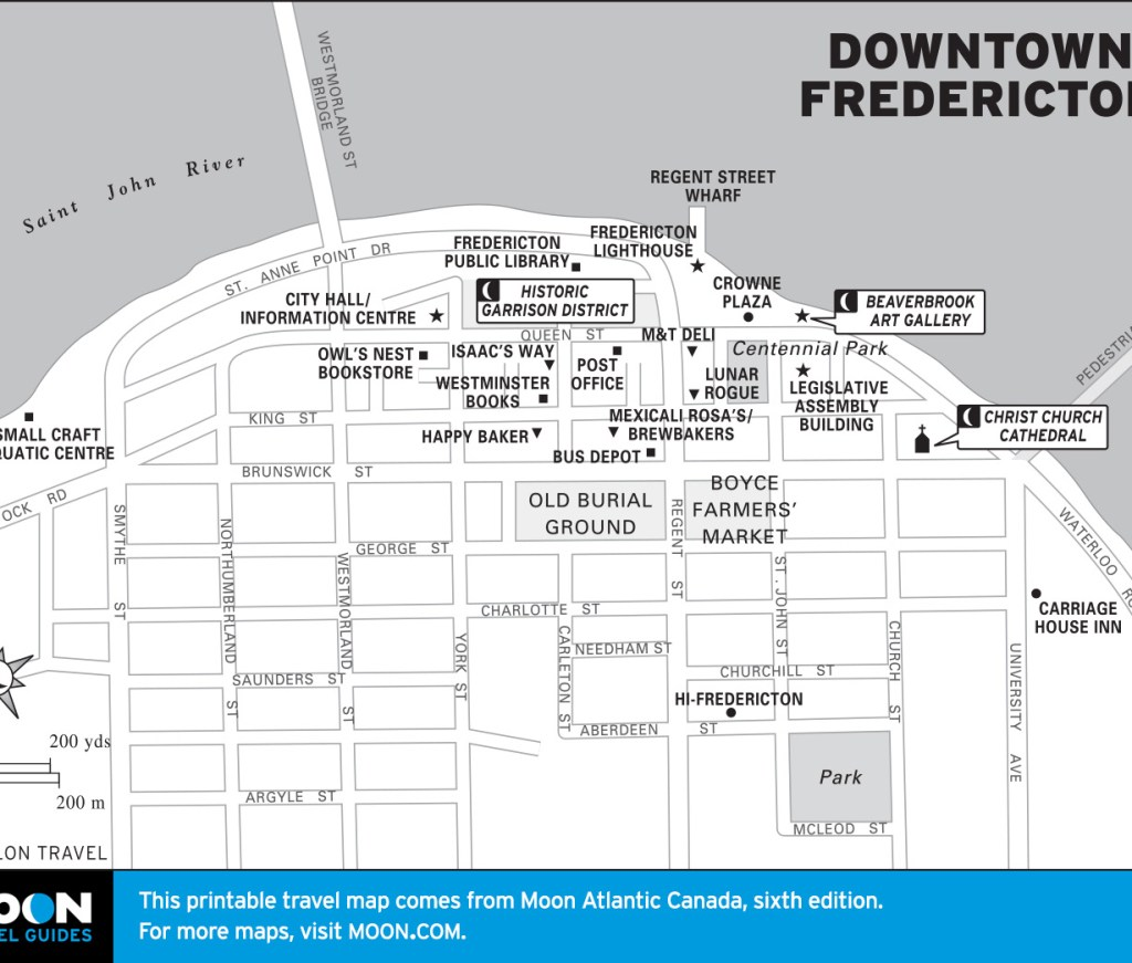 Travel map of Downtown Fredericton, New Brunswick