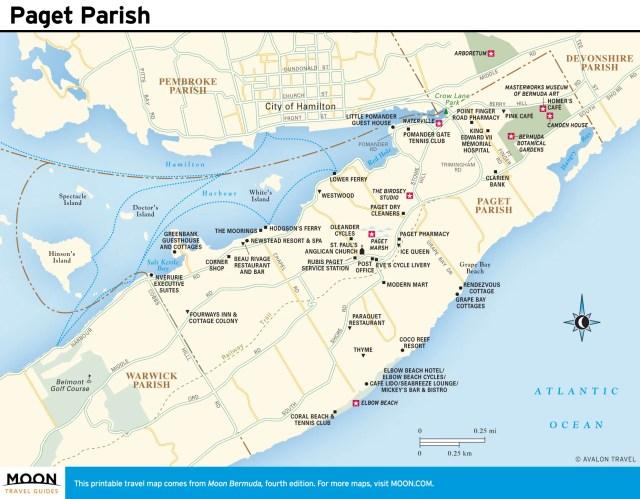 Travel map of Paget Parish, Bermuda