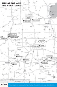 Travel map of Ann Arbor and the Michigan Heartland.