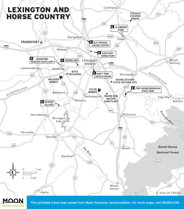 Map of Lexington and Horse Country in Kentucky