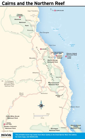 Travel map of Cairns and the Northern Reef, Australia