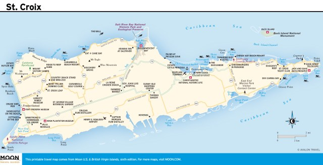Travel map of St. Croix, Virgin Islands