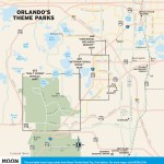 Travel map of Orlando Theme Parks, Florida