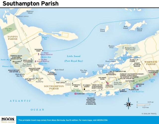 Travel map of Southampton Parish, Bermuda