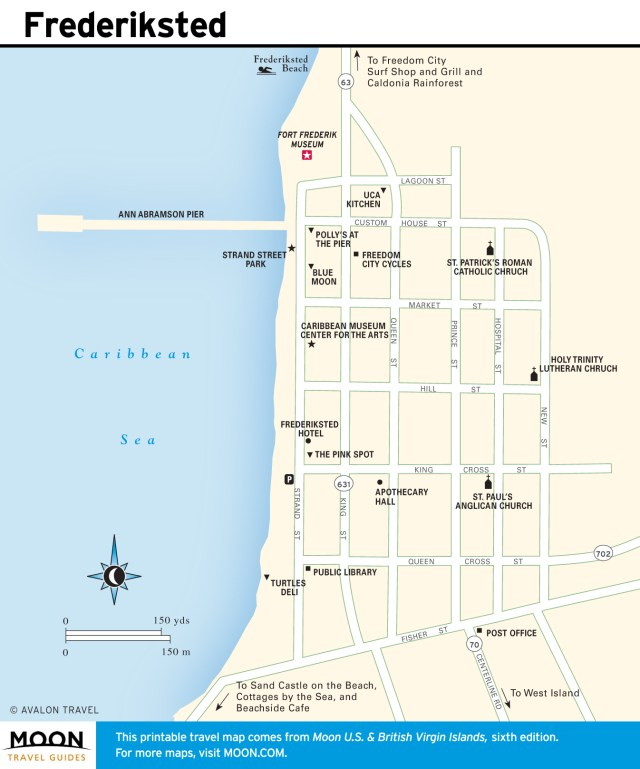 Travel map of Frederiksted, Virgin Islands