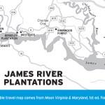 Map of James River Plantations, Virginia