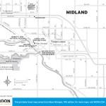 Travel map of Midland, Michigan