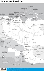 Travel map of Matanzas Province, Cuba