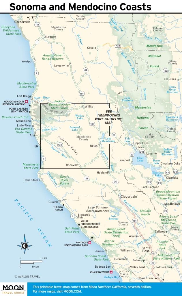 Maps - Northern California 7e - Sonoma and Mendocino Coasts