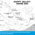 Travel map of Happy Valley-Goose Bay, Labrador