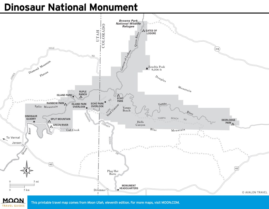 Travel map of Dinosaur National Monument in Utah
