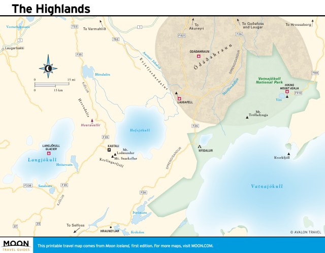 Travel map of Iceland's Highlands